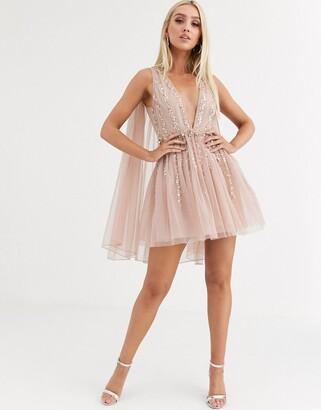 Asos Design DESIGN embellished cape plunge tulle mini dress-Beige