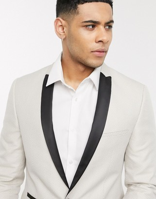 Viggo recycled polyester jacquard slim fit tuxedo jacket with contrast sateen lapel