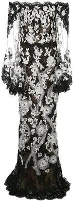 Marchesa Sheer Lace Evening Dress