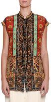 Etro Patchwork Mandarin-Collar Blouse, Brown