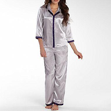 Liz Claiborne 3/4-Sleeve Satin Pajama Set