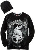 Southpole Kids Boys 8-20 Long Sleeve Fashion Printed Logo Tee Shirt with Free Beanie