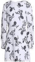 A.L.C. Button-Detailed Printed Wool-Blend Mini Dress