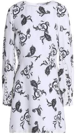 A.L.C. Button-Detailed Printed Wool-Blend Mini Dress
