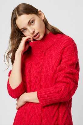 French Connection Nissa Chunky Cable Mock Neck Jumper