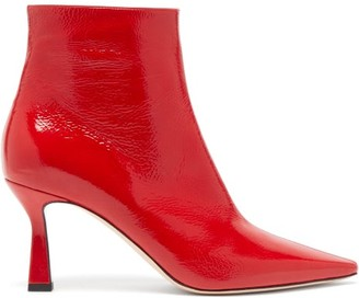 Wandler Lina Point-toe Leather Ankle Boots - Red