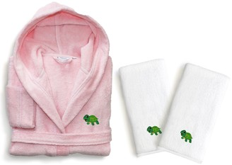 Linum Home Textiles Kids Turtle 3-piece Terry Hooded Bathrobe & Hand Towel Set