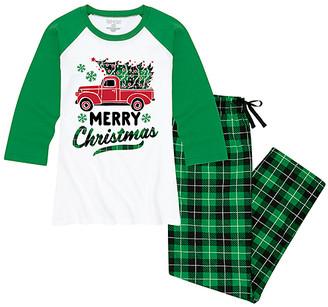Buffalo David Bitton Nap Chat Family Women's Sleep Bottoms WHITE/GREEN|BUFFALO - White & Green Plaid 'Merry Christmas' Pajama Set - Women & Plus