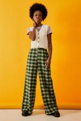 Daisy Street Green Check Wide Leg Trousers - Green XS at Urban Outfitters