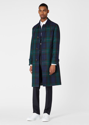 Paul Smith Men's Dark Navy Tartan Motif Wool And Silk Overcoat