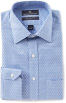 Hart Schaffner Marx Non-Iron Fitted Classic-Fit Spread Collar Houndstooth Dress Shirt