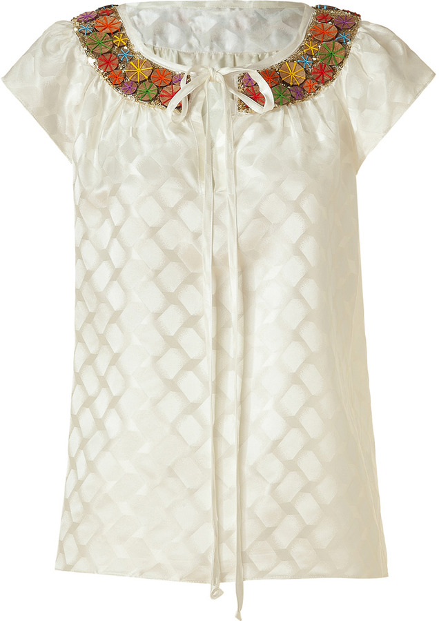 Milly Ivory Coconut Beaded Silk Top