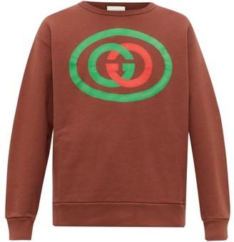 Gucci GG Logo-print Cotton-jersey Sweatshirt - Brown