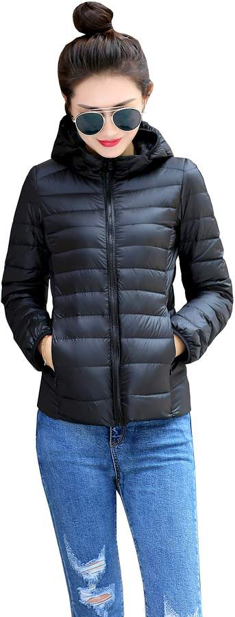 Prettybuy Women's Hooded Packable Down Jacket Ultra Light Weight with Storage Bag (S,NVY)