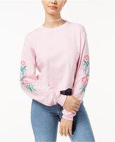 Hybrid Juniors' Raw-Edged Rose Graphic T-Shirt