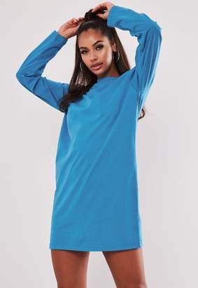 Missguided Blue Basic Long Sleeve T Shirt Dress