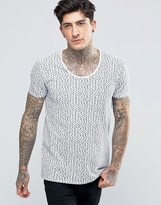 Scotch & Soda T-Shirt With Scoop Neck In All Over Fish Print In Stretch Slim Fit In White