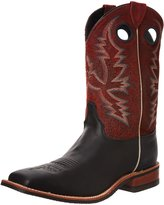 """Justin Boots Men's U.S.A. Bent Rail Collection 11"""" Boot Wide Square Double Stitch Toe Performance Rubber Outsole,Black Chester/Red Crackle"""