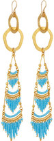 Devon Leigh Golden Textured Chandelier Earrings, Turquoise