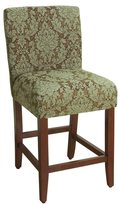HomePop 24-inch Counter Height Blue/ Brown Damask Upholstered Barstool