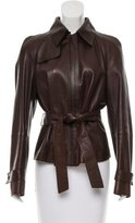 Akris Belted Leather Jacket