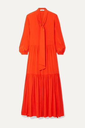 Tibi Pussy-bow Tiered Silk Crepe De Chine Maxi Dress - Bright orange