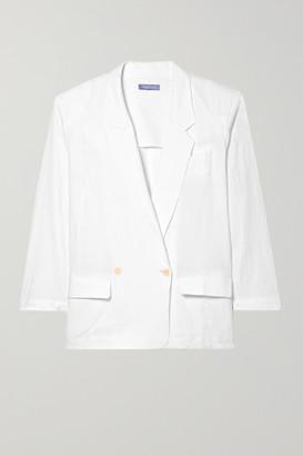 Paradised - Beach Crinkled Cotton-gauze Double-breasted Blazer - White