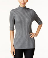 Style&Co. Style & Co. Ribbed Mock-Neck Sweater, Only at Macy's