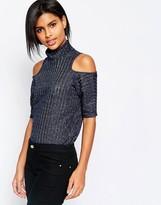 Vero Moda 3/4 Sleeve Cold Shoulder High Neck Sweater