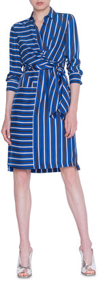 Akris Punto Square-Striped Silk Crepe de Chine Shirtdress
