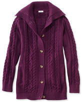 L.L. Bean Double L Mixed-Cable Sweater, Button-Front Cardigan