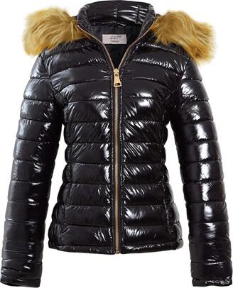 Ss7 Womens Puffer Jacket Wet Look Bubble Faux Fur Coat Size 12 8 10 14 16 6 Black