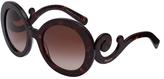Prada Tortoise Swirl Oversize Round Sunglasses