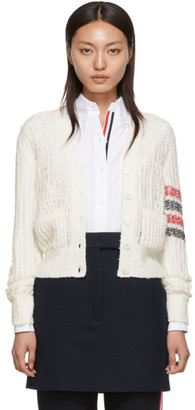 Thom Browne White Open Stitch V-Neck Cardigan