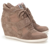 Bowie Suede & Canvas Wedge Sneakers: Sand