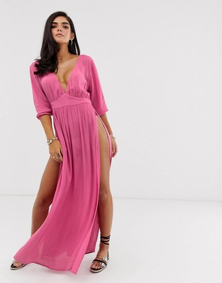 ASOS DESIGN beach maxi dress in dusky rose crinkle with plunge front & splits