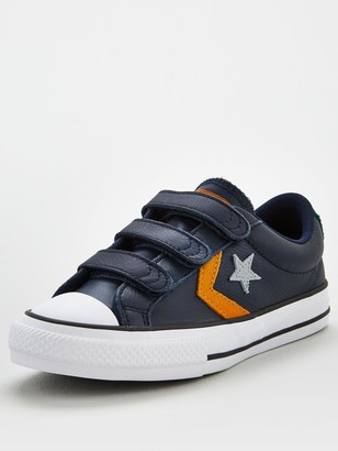 Converse Star Player Ox 3v Leather Junior Trainer - Grey Yellow