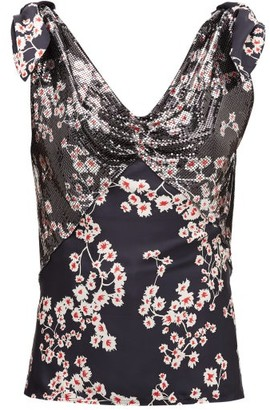 Paco Rabanne Floral-print Chainmail And Satin Camisole - Womens - Black Multi