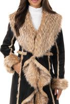 Fabulous Furs Cascade Faux Suede Faux Fur-Trim Full Coat