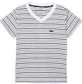 Lacoste White and Navy Stripe Tee