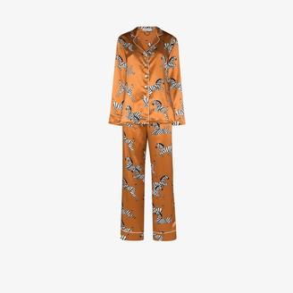 Olivia von Halle Lila Zelda zebra print silk pyjamas