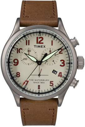 Timex Boutique Chronograph Waterbury Leather Strap Watch