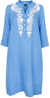 Nologo Chic Victoria Embroidered Tunic Dress - Blue & White