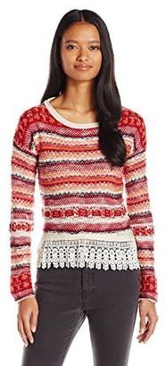 Jolt Women's Long Sleeve Stripe Sweater with Lace Detail