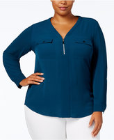 NY Collection Plus Size Zip-Neck Top
