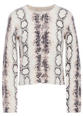 Maje Malio Cropped Snake-print Jersey-knit Cardigan
