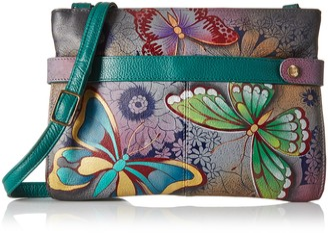 Anuschka Anna by Women's Genuine Leather Medium Crossbody Handbag | Zip-Top Organizer with Snap Side |Butterfly Paradise