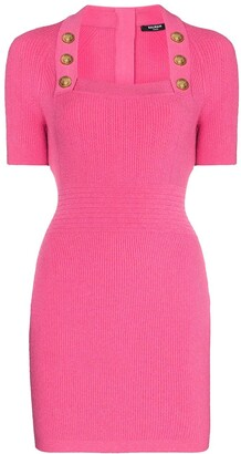 Balmain Square-Neck Knitted Mini Dress