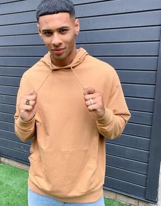 ASOS DESIGN lightweight oversized hoodie in golden brown
