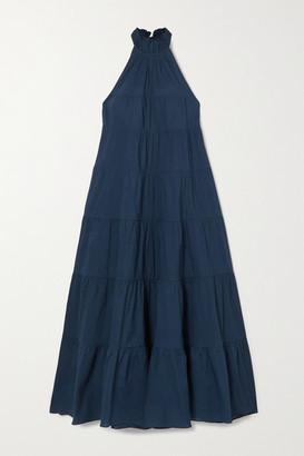 Rhode Resort Julia Tiered Cotton-voile Halterneck Maxi Dress - Navy